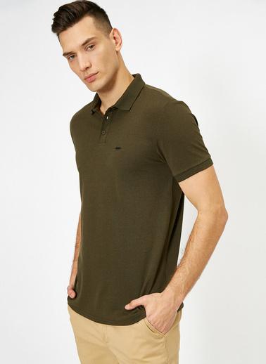 Koton Polo Yaka Metal Logo Detaylı Slim Fit T-Shirt Yeşil